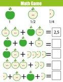 Игра для детей, рабочее лист математики воспитательная подсчитывая добавлению Учить части, половина, кварталы иллюстрация вектора