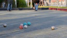 Игра Boules, игра игры в петанки Стоковые Фото