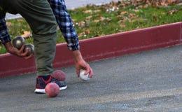 Игра Boules, игра игры в петанки Стоковое фото RF
