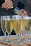 Игристое вино в высокорослых стеклах Стоковое Фото