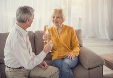 Игристое вино элегантных зрелых пар выпивая Стоковое Фото
