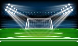Игровая площадка футбола или футбола спорт игры Фара футбольного стадиона и предпосылка табло с ярким блеском освещают иллюстрация вектора