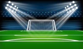 Игровая площадка футбола или футбола спорт игры Фара футбольного стадиона и предпосылка табло с ярким блеском освещают бесплатная иллюстрация