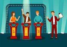 Игровое шоу ТВ при 3 участника отвечая на вопросы или разрешая головоломки и люди и женщины хозяина усмехаясь участвуют иллюстрация вектора