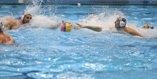 Игроки водного поло воюя для шарика Стоковое Фото