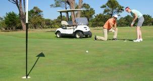 Игроки в гольф играя гольф сток-видео