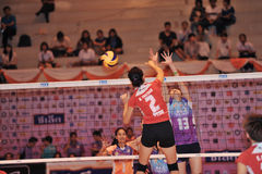Игроки женщин blockking шарик Стоковое фото RF