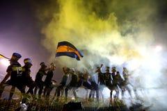 Игроки младших Boca празднуя стоковое изображение rf