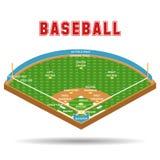 Игроки плана и образования поля бейсбола Стоковые Фото