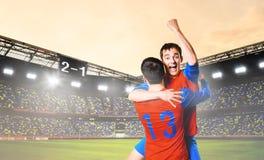 Игроки празднуют цель Стоковая Фотография RF