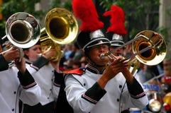 Игроки рожочка, военный оркестр Стоковое фото RF