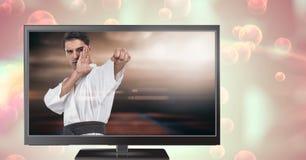 игрок бойца боевых искусств на телевидении Стоковые Фото