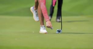 Игрок в гольф кладя шар для игры в гольф на зеленую траву для прохода проверки для того чтобы продырявить стоковые фотографии rf