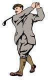 игрок в гольф 1930s с teeing Стоковые Изображения RF