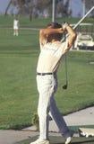 Игрок в гольф в средний-качании, отступлении гольфа, Santa Clara, CA Стоковые Фотографии RF
