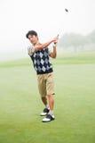 игрок в гольф с teeing Стоковые Изображения