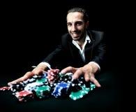 Игрок в покер держа пари все Стоковое фото RF