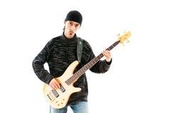 Игрок гитары изолированный на белизне Стоковое Изображение
