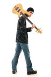 Игрок гитары изолированный на белизне Стоковое Фото