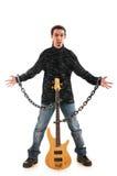Игрок гитары изолированный на белизне Стоковое фото RF