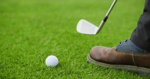 Игрок гольфа кладя шар для игры в гольф на курс видеоматериал