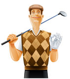 игрок гольфа клуба шарика Стоковое Изображение