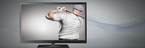 игрок гольфа на телевидении Стоковые Изображения