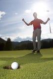 игрок гольфа счастливый Стоковое фото RF