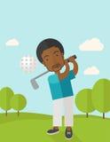 Игрок гольфа на поле Стоковая Фотография