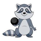 Игрок енота шаржа с шариком боулинга Стоковая Фотография RF