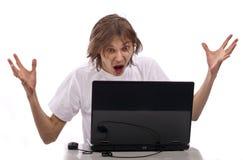 игрок игр компьютера эмоциональный Стоковая Фотография