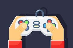 Игрок игр консоли игры ретро вручает регулятору кнюппеля плоским изолированную значком иллюстрацию вектора Стоковые Фото