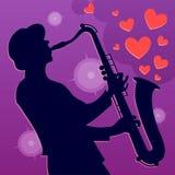 Игрок саксофона джаза Музыкант саксофониста Стоковые Фотографии RF