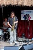 Игрок саксофона джаза на этапе Стоковое Фото