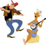 Игрок скрипача и банджо иллюстрация вектора