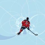 Игрок хоккея на льде в платье красного цвета и черноты Стоковая Фотография
