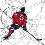 Игрок хоккея на льде в платье красного цвета и черноты Стоковое Фото