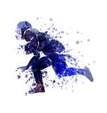 Игрок эскиза акварели вектора американского футбола Стоковое Изображение RF