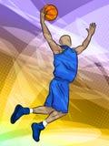 игрок bastketball скача Стоковое Фото