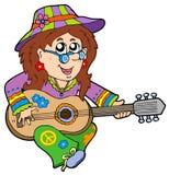 игрок hippie гитары Стоковая Фотография RF