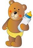 игрушечный бутылки медведя младенца Стоковые Фото