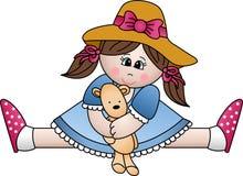игрушечный девушки медведя сидя Стоковые Фото