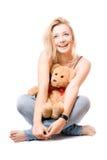 игрушечный медведя белокурый жизнерадостный Стоковая Фотография