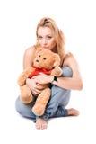 игрушечный медведя красивейший белокурый Стоковые Фотографии RF