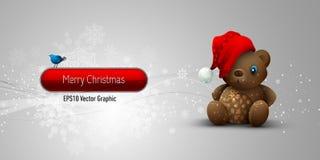 игрушечный рождества медведя знамени Стоковое фото RF