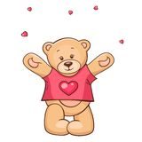 игрушечный рубашки t сердца шаржа медведя Стоковая Фотография
