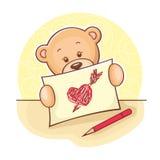 игрушечный сердца чертежа медведя Стоковая Фотография RF
