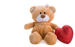 игрушечный удерживания сердца медведя Стоковое фото RF