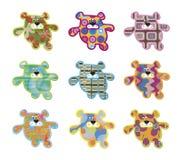 игрушечный 9 медведей ретро Стоковые Изображения RF
