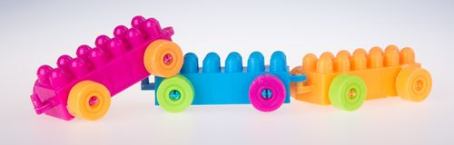 игрушка Автомобиль блока игрушки Автомобиль блока игрушки на предпосылке Стоковая Фотография RF